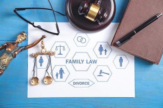 Lei de família. martelo do juiz e livro na mesa