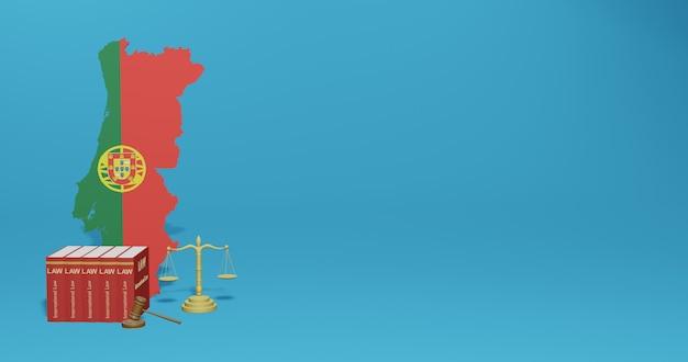Lei de portugal para infográficos, conteúdo de mídia social em renderização 3d