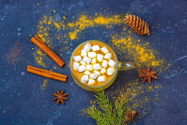 Leite de açafrão indiano tradicional em caneca de vidro com canela, marshmallows e pinhas