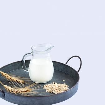 Leite de aveia vegano leite alternativo não lácteo na jarra