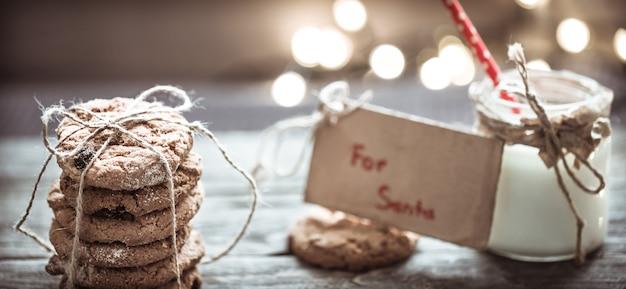 Leite e biscoitos para o papai noel