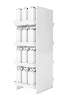 Leite em branco ou caixas de papelão de suco na prateleira da loja em um fundo branco. renderização 3d