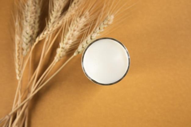 Leite em um copo e trigo em uma superfície marrom