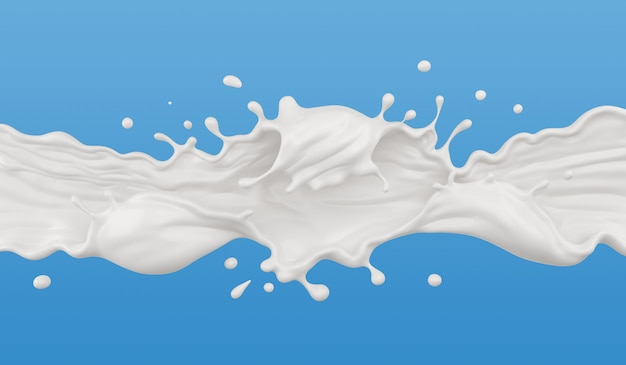 Leite respingo isolado no fundo, líquido ou iogurte, incluem o traçado de recorte. ilustração 3d