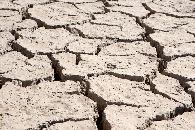 Leito fluvial sem água para a seca