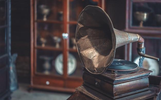 Leitor de discos de música retro
