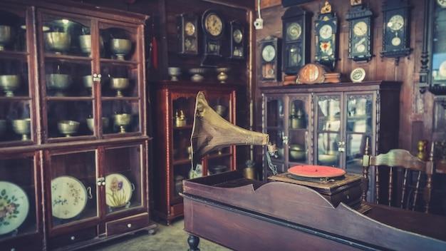 Leitor de música de gramofone vintage