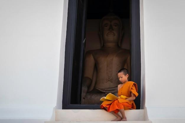 Leitura de jovem monge budista iniciante