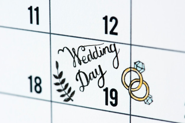 Lembrete de calendário de dia de casamento