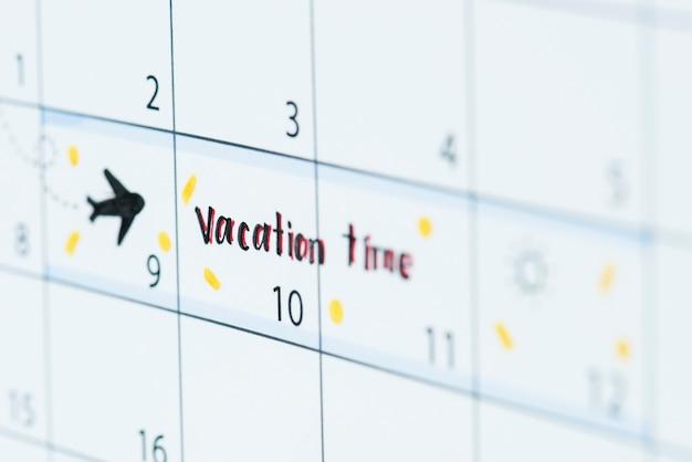 Lembrete de calendário de férias