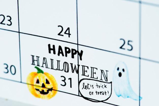 Lembrete de calendário de halloween