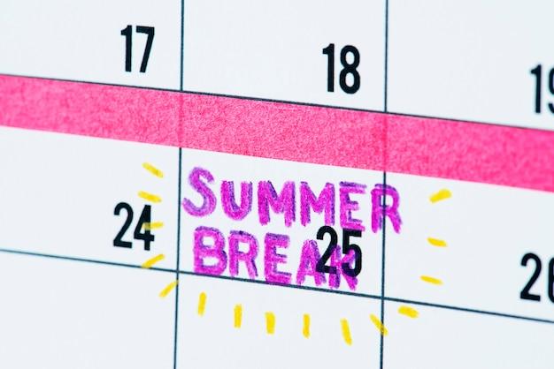 Lembrete de calendário de pausa de verão
