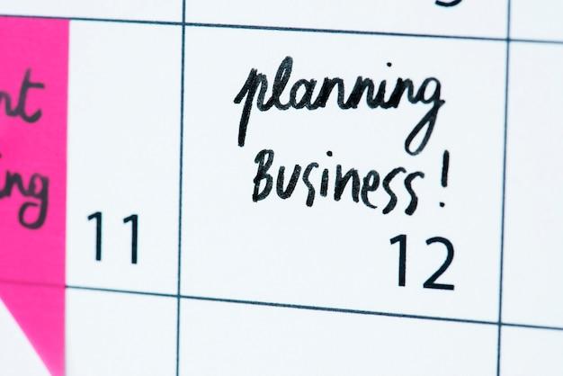 Lembrete de calendário de planejamento de negócios
