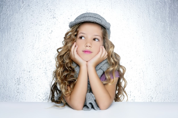 Lenço de lã de inverno cachecol pequeno retrato de menina de moda