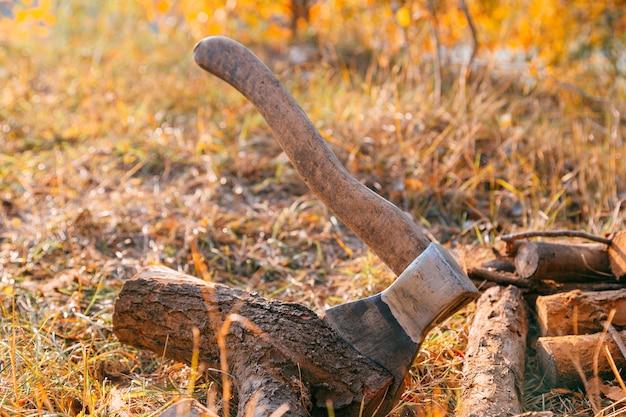 Lenha e machado em madeira. cutelo de machado e muita lenha, árvore, floresta, divisão, corte, combustível, trabalho, indústria, material, cru, calor, renovável, serra, silvicultura, resistente ao corte