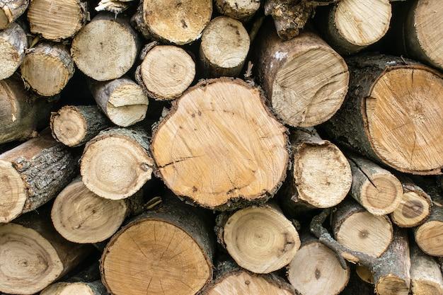 Lenha empilhada. velho resistiu a textura de madeira com a seção transversal de um background de log de corte