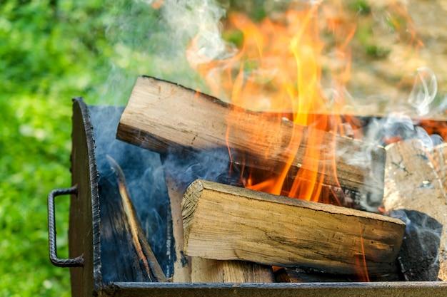 Lenha grande que queima-se na grade do ferro com fumo e flama.
