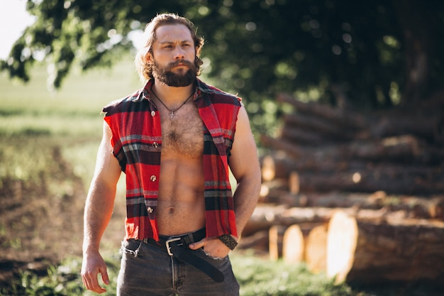 Lenhador de homem na floresta