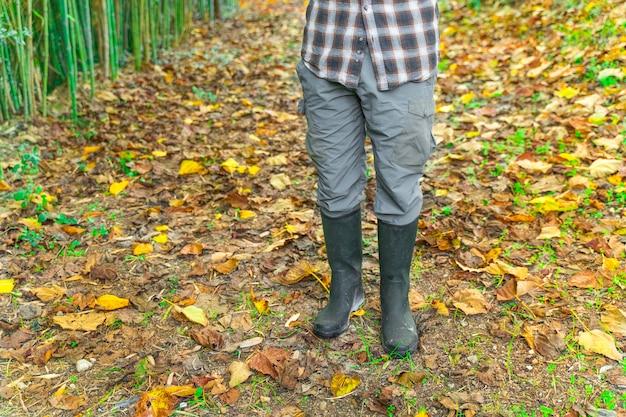 Lenhador lenhador com botas e camisa quadrada no fundo da paisagem das folhas de outono