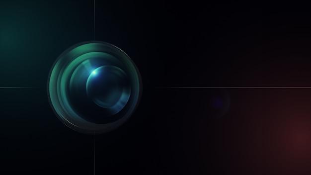 Lente de câmera com reflexões de lente. renderização em 3d