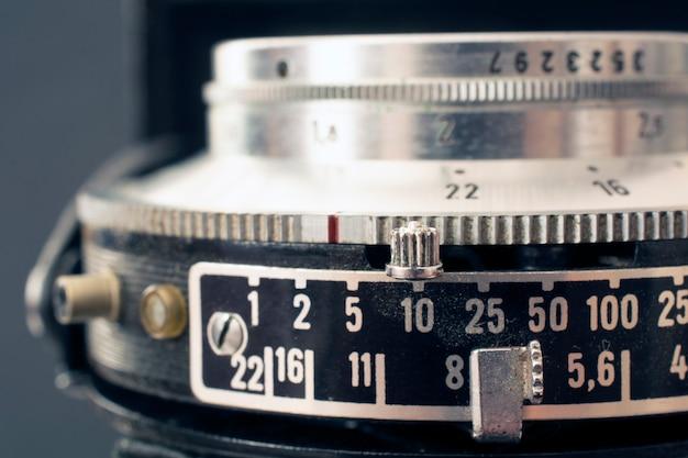 Lente de câmera de filme vintage e controles