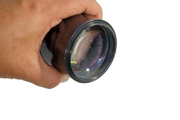 Lente de câmera velha na mão