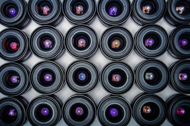 Lentes, com, câmera, coloridos, reflexão, como, um, fundo