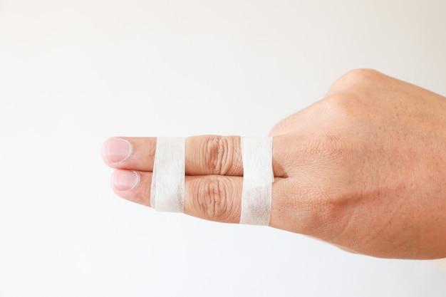 Lesões nos dedos, tala do dedo do amigo, dedo reto com o dedo lateral.