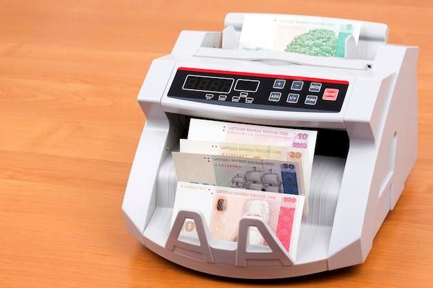 Letão lats em uma máquina de contagem