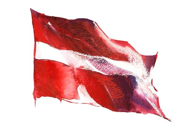 Letônia, bandeira da letônia. mão-extraídas ilustração em aquarela.