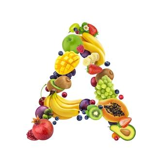 Letra a, feita de diferentes frutas e bagas