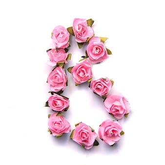 Letra b do alfabeto inglês de rosas na superfície branca