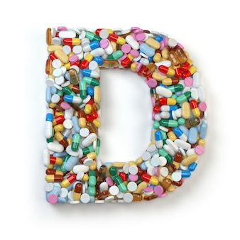 Letra d. conjunto de alfabeto de comprimidos, cápsulas, comprimidos e bolhas isoladas em branco. ilustração 3d