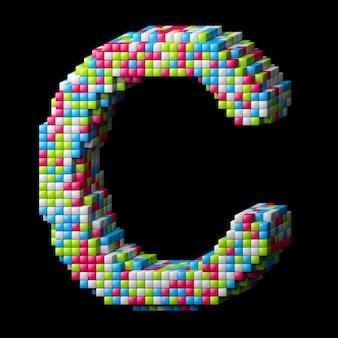Letra do alfabeto 3d pixelizada c