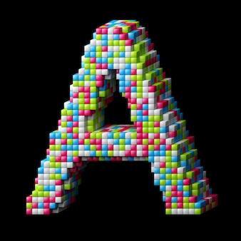 Letra do alfabeto 3d pixelizada