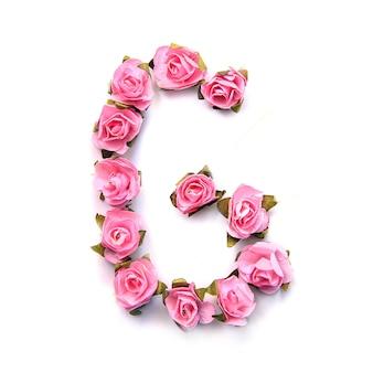 Letra g do alfabeto inglês de rosas na superfície branca