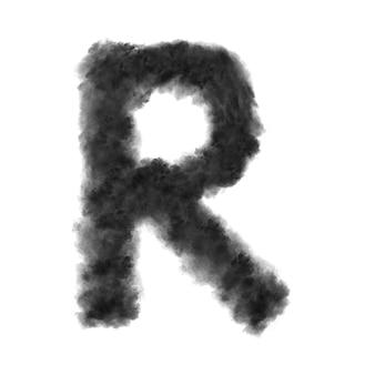 Letra r feita de nuvens pretas ou fumaça em um branco com espaço de cópia, não renderizar.