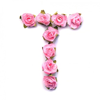 Letra t do alfabeto inglês de rosas na superfície branca