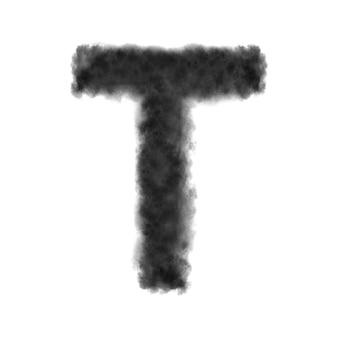 Letra t feita de nuvens negras ou fumaça.