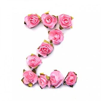 Letra z do alfabeto inglês de rosas na superfície branca