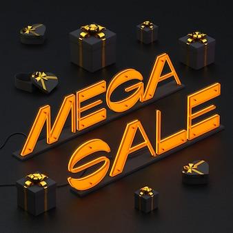 Letras brilhantes venda mega com caixas de presente em preto.