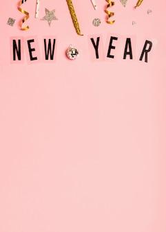 Letras de ano novo com espaço de cópia