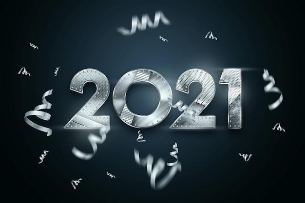 Letras de fundo de natal 2021 com números de metal em um fundo escuro.