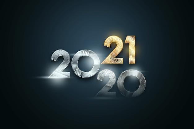 Letras de luxo criativo 2021 com números de metal em fundo escuro.