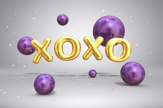 Letras de ouro brilhantes de metal xoxo e brilhantes esferas de balões voadores no fundo festivo com confetes, 3d