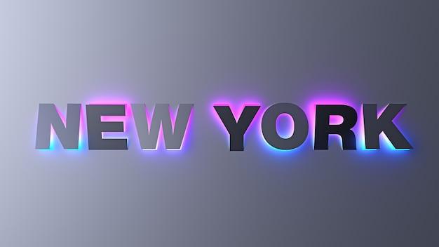 Letras de tipografia de design de nova york com luzes gradientes de néon brilhantes. ilustração 3d.