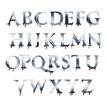 Letras do alfabeto em aquarela