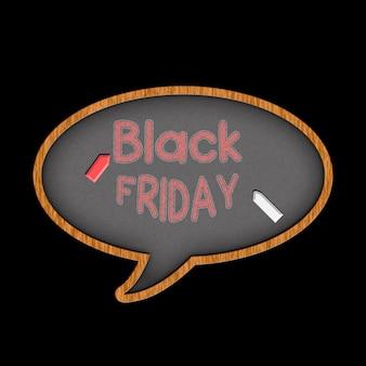 Letras em giz vermelho no quadro negro preto sexta-feira. giz de cera