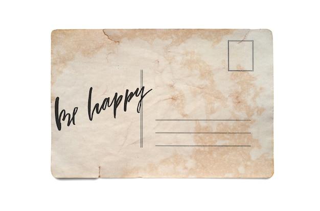 Letras em um cartão postal vintage isolado no branco