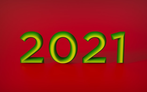 Letras grandes, números de feliz ano novo, feitos de recortes, gradiente de cor de vermelho para amarelo